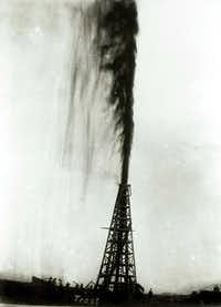 <p>In this 1901 photo provided by the Texas Energy Museum, the Lucas gusher at Spindletop blows oil an estimated 200 feet in the air in the days after the initial blowout on Jan. 10, 1901, near Beaumont. When a well piercing the salt dome first gushed in 1901, it introduced a cheap supply of commercial energy that transformed the oil industry and American life. (AP Photo/Texas Energy Museum via Houston Chronicle, Frank J. Trost)</p>