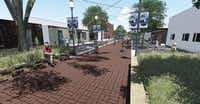 "San Jacinto Plaza will transform prior store-front parking into a pedestrian area with planters that double as seating and lamps that lead into the square. ""It's a very compact downtown so not a lot of green space or gathering space. The pedestrian plaza will take care of some of that,"" said Bethany Browning, manager of the Main Street project for the city of Rockwall.Rendering courtesy of THE CITY OF ROCKWALL"