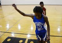 Duncanville girls basketball player Tasia Foman works out during practice.(ROSE BACA)