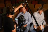 Former Sen. Rick Santorum and Watermark Senior Pastor Todd Wagner take a break between takes for a promotional video clip for Seasons of Gray, a film by EchoLight Studios, which launched in 2011 to promote and produce films with a faith-based message. Santorum joined EchoLight as a fundraiser about a year ago, and later as a member of its board. He was named chief executive, with his own stake in the company, in late June.
