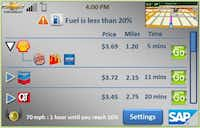 With the Hermes app, the driver can set up a fuel notification that will flash an alert when the fuel is low. It would also indicate, depending on the car's speed, how much time is left until an empty tank and automatically list the nearest gas stations with prices includedImage submitted by DWIGHT FRAENCIS DY