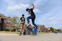 Ethan does a skateboard trick while Zack skates next to him. Last August, Frisco announced plans to build a skate park at the undeveloped Northeast Community Park near Panther Creek Parkway and Coit Road. The city also approved construction of a BMX facility at Northwest Community Park near Panther Creek and Teel parkways.(Rose Baca - neighborsgo staff photographer)