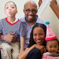 Paul Quinn College President Michael Sorrell enjoys family time with wife Natalie Jenkins Sorrell and their two kids.