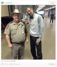 Rapper Snoop Dogg posted this photo  of himself and DPS Trooper Billy Spears to his Instagram page, causing much consternation from Spears' employer.(Instagram)