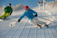 "Groomed trails known as ""corduroy"" in the ski world abound at Stratton Mountain Resort in southern Vermont, including the Upper Standard trail."