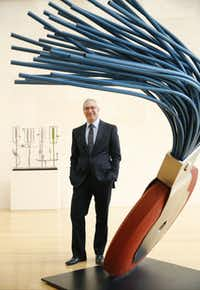 """Jeremy Strick, the Nasher Sculpture Center's director, standing next to Claes Oldenburg's """"Typewriter Eraser"""" (1976), says, """"These conditions are not acceptable. This must be resolved."""""""