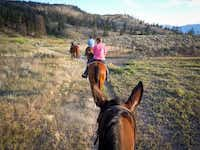 Group trail rides explore the semi-arid terrain at Sundance Ranch in Ashcroft, Canada.( Remy Scalza  -  Remy Scalza )