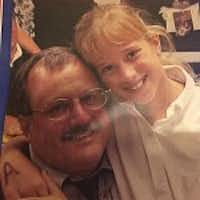 This partial image from a flier shows Trinity Christian Academy science teacher Bill Lipman and his daughter Rebekah when she was one of his students. She has since joined her father at the school as a fifth-grade math teacher. (Photo from Trinity Christian Academy)