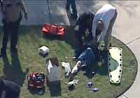 This frame grab provided by KPRC Houston shows the scene at Lone Star College Tuesday, Jan. 22, 2013 where law enforcement officials say the community college is on lockdown amid reports of a shooter on campus.  (AP Photo/Courtesy KPRC TV) MANDATORY CREDITUncredited - AP