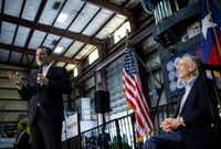 Sen. Ted Cruz of Texas, a Republican presidential hopeful, on stage with Texas Gov. Greg Abbott, who endorsed him, during a campaign event at Mach Industrial Group in Houston, Feb. 24, 2016. (Eric Thayer/The New York Times)