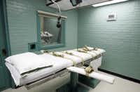 This May 27, 2008, file photo, shows the gurney in the death chamber in Huntsville. (AP Photo/Pat Sullivan, File)