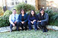 Unable to complete college herself, Martha Gonzales, second from left, was determined to see her three daughters attend, a dream that has come true for her and her husband, Aaron M. Gonzales. Daughter Karen (third from left) is now attending the University of Texas at Austin; Kimberly (far right) now has her master's degree ; and middle daughter Kristine (not pictured) starts studying for hers this month.Photo by RUTH HAESEMEYER