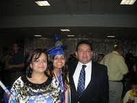 The Gonzales' middle daughter, Kristine, shown at her high school graduation, has gone on to complete her bachelor's degree in mechanical engineering at Northeastern University. She now works for BAE Systems.(Photo submitted by MARTHA GONZALES)