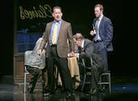 "FILE -- Tom Hanks, center, during a scene in ""Lucky Guy,"" at the Broadhurst Theater in New York, March 27, 2013. Hanks was nominated for his role in the production which was nominated for best play, for the 67th annual Tony Awards. (Sara Krulwich/The New York Times)"