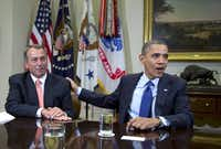 House Speaker John Boehner (left) of Ohio and President Barack Obama have been unable so far to come up with a deal to avoid the fiscal cliff on Jan. 1.
