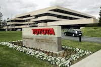 FILE - In this Jan. 23, 2008 file photo, Prius enters Toyota's U.S. headquarters in Torrance, Calif. Toyota on Monday, April 28, 2014 said that it will move its U.S. headquarters from California to Plano, Texas, a suburb of Dallas. Small groups of employees will start moving to temporary office space there this year, but most will not move until late 2016 or early 2017 when a new headquarters is completed.  (AP Photo/Reed Saxon, File)(Reed Saxon - AP)