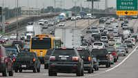 Northbound morning rush hour traffic moved slowly along Interstate 35E just north of downtown Dallas in 2007. (File Photo)