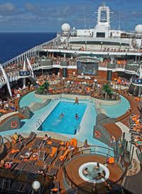 MSC Americanized the Divina, including adding a movie screen to the pool deck.