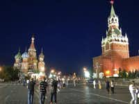 St. Basil's Cathedral and the Saviour's Tower at night on the Red Square in Moscow.(Tom Waseleski - MCT)