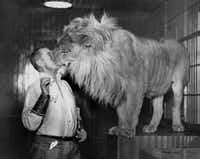 George Whittell plays with his pet lion, Bill, in this undated photo from the Thunderbird Lodge, Whittell's legendary castle on the east shore of Lake Tahoe near Incline Village, Nev. The Whittell mansion, which was built in the 1930's, will be open to the public for the first time starting this summer.AP
