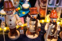 Tradtional wood toy figures are sold at the Alexanderplatz Christmas Market in Berlin, Germany.