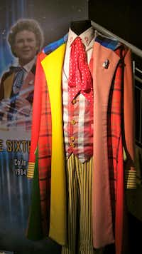 The colorful costume of the sixth actor to play the Doctor, on display at the Doctor Who Experience in Cardiff, Wales.