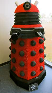 A Dalek built from Lego at the Doctor Who Experience in Cardiff, Wales.