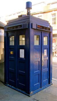TARDIS outside Earls Court Underground Station in London.