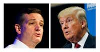 This two picture combo of file photos shows Republican presidential candidate, Sen. Ted Cruz of Texas and billionaire Donald Trump are fierce rivals for the Republican presidential nomination. (AP Photo/File)