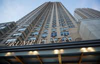 The Trump Plaza Residence building stands next to Trump Bay Tower under construction in Jersey City, New Jersey. Trump Bay Street is a 50-story luxury rental apartment building being built by Kushner Companies, whose chief executive officer, Jared Kushner, is married to Donald Trump's daughter Ivanka. (Michael Nagle/Bloomberg)