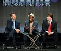 """FILE - In this July 29, 2013 file photo, from left, executive producer Neal Kendall, host/executive producer Arsenio Hall and executive producer John Ferriter participate in the """"The Arsenio Hall Show"""" panel at the 2013 CBS Summer TCA Press Tour at the Beverly Hilton Hotel in Beverly Hills, Calif.  CBS Television Distribution says """"The Arsenio Hall Show"""" is going off the air. The company said Friday, May 30, 2014, that the freshman talk show had failed to increase its audience and wont be back for a second year. (Photo by Frank Micelotta/Invision/AP, file)Frank Micelotta - Frank Micelotta/Invision/AP"""