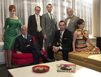 "Thecast of ""Mad Men,"" from left, Christina Hendricks, John Slattery, Jared Harris, Vincent Kartheiser, Jon Hamm, Robert Morse and Elisabeth Moss are shown"