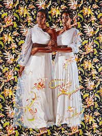 Kehinde Wiley  turns his talents to investigating the role of race in the visual arts.  The Two Sisters , 2012, is an oil on linen.(Collection of Pamela K. and William A. Royall, Jr. - Collection of Pamela K. and Will)