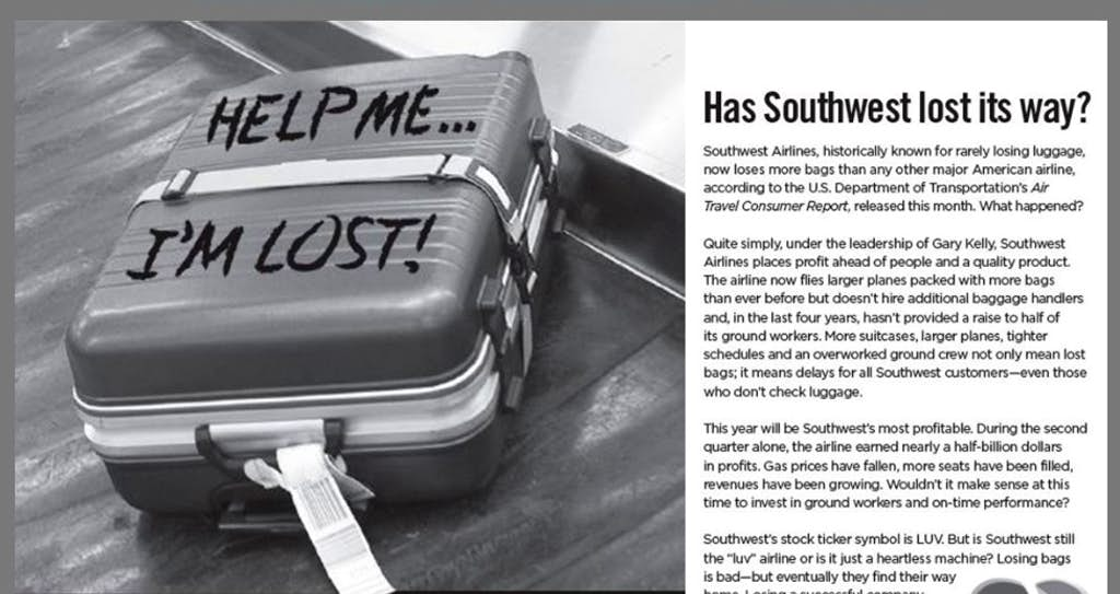 Southwest Airlines Union To Highlight Lost Bags In Anti Company