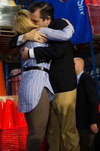Sen. Ted Cruz hugged his wife, Heidi at a campaign stop Friday in Oshkosh, Wis., before he publicly denied a tabloid report of extramarital affairs. (Darren Hauck/The Associated Press)