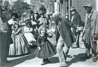 """In 1935's """"The Little Colonel,"""" Shirley Temple teamed with the great African-American dancer Bill """"Bojangles"""" Robinson. Her dance with him up the steps — at a time when interracial teams were unheard of in Hollywood — became a landmark in the history of film."""