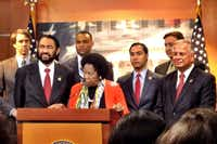 Texas Democrats in Congress, led by Rep. Sheila Jackson Lee, call on Texas Republicans to help reopen the government. From left: Reps. Beto O'Rourke of El Paso, Al Green of Houston, Marc Veasey of Fort Worth, Jackson Lee, Joaquin Castro of San Antonio, Pete Gallego of Alpine, and Gene Green of Houston.