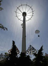 The Texas Chute Out, inspired by a Coney Island ride, lifts passengers 200 feet into the air before they're parachuted to a soft landing.