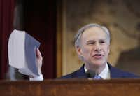 Gov. Greg Abbott drove home a point Tuesday as he delivered his first State of the State address to the Legislature. His 45-minute speech closely tracked his themes and promises from his campaign last year.( Eric Gay  -  The Associated Press )