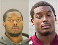 Thomas Johnson in jail (left) and in Aggie apparel (right).