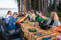 No freeze-dried food here: Guests are served gourmet-inspired meals, with wine, in a stunning setting.? Dan Leeth -  Dan Leeth/Special Contributor
