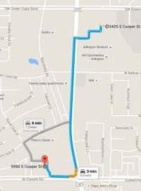 Map shows location of closing Tom Thumb at 5425 S. Cooper in Arlington to an Albertsons store nearby at 5950 S. Cooper.