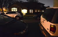 Cars line the street outside the residence on Mumford Court where Congregation Toras Chaim meets.(Rose Baca)