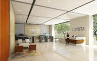 Artist renderings of Toyota's new headquarters in west Plano show lots of wide open spaces and cars on display.( Toyota )