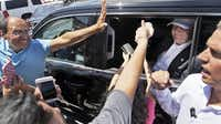 "Supporters reached out to Donald Trump during his visit to Laredo on Thursday. ""I'm the one who brought up the problem of illegal immigration,"" the Republican presidential candidate said. ""I took a lot of heat the first week, and then the second week everybody realized I was right.""( LM Otero  -  The Associated Press )"