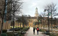 Students make their way around campus at UNT in Denton, on Wednesday, March 18, 2015. (Vernon Bryant/The Dallas Morning News)
