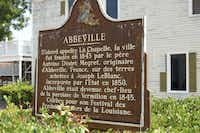 A historic marker in the Acadian town of Abbeville, La.