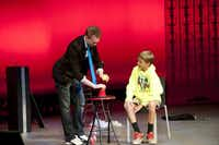 Trigg Burrage, SMU student and magician, performing around town for kids. He is scheduled to perform on Feb. 4, 11 and 25, 2012 from 6:30 to 9 p.m. at the Spaghetti Warehouse in the West End, Dallas.