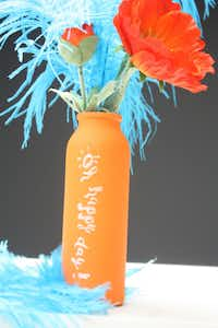 Chalkboard China lets you express yourself on a cheery vase. Who needs a card when you can say it all on the vase itself? The orange vessel from Chalkboard China, another Dallas company, is $22. Gypsy Wagon, 2928 N. Henderson Ave.
