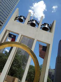 The Bell Tower and Ring of Thanks at Thanks-Giving Square in downtown Dallas.